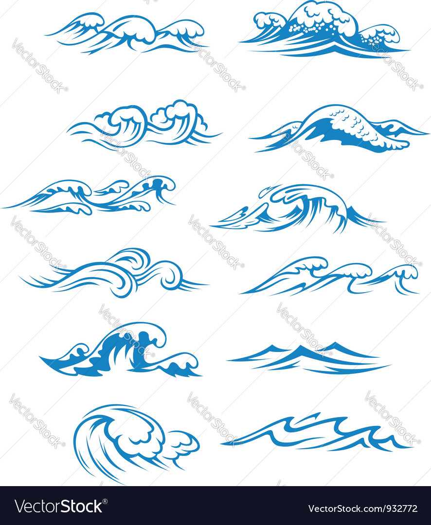 Ocean waves set isolated on white vector image