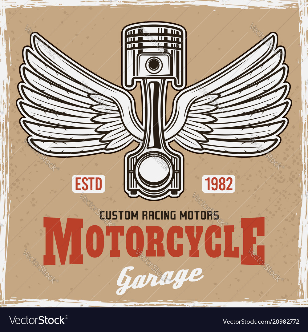 Piston with wings and text vintage colored poster