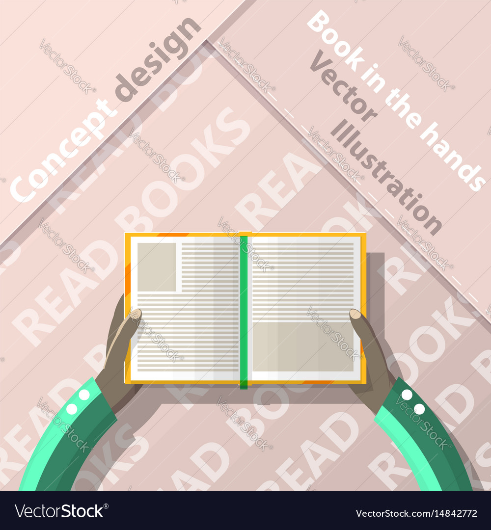 Read books open book in hands flat design