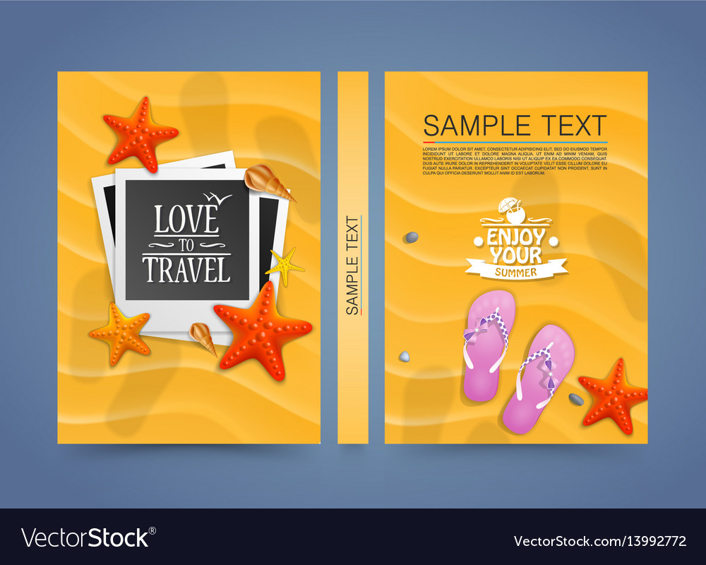 Summer beach vacation scene with flat photo frame