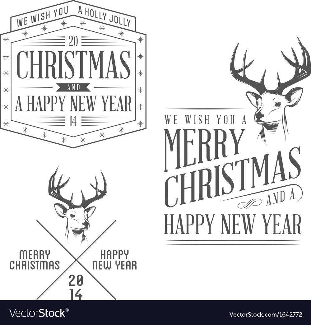 Vintage Christmas design elements set