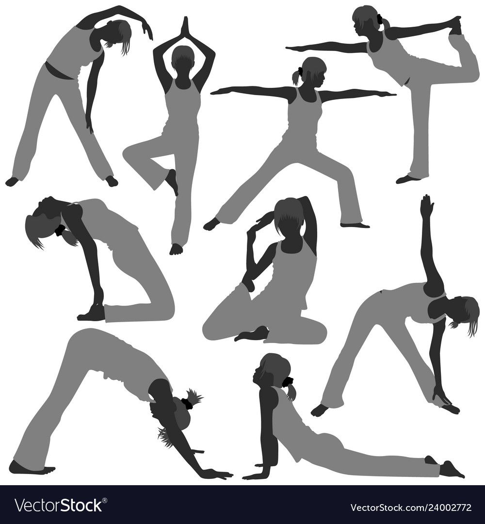 Woman yoga exercise poses healthy a set of woman