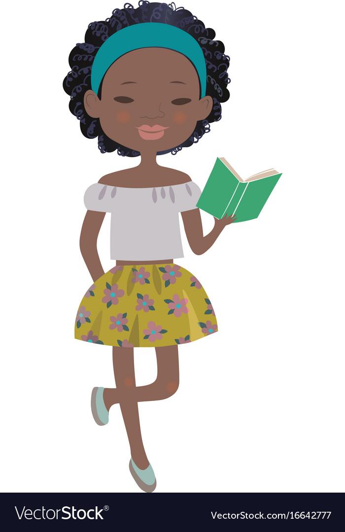 Cartoon afro girl with Top 10