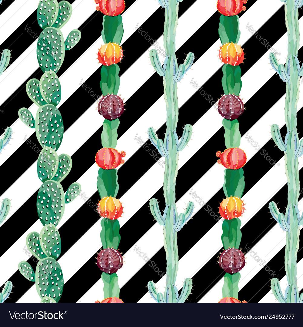 Cactus seamless black white background