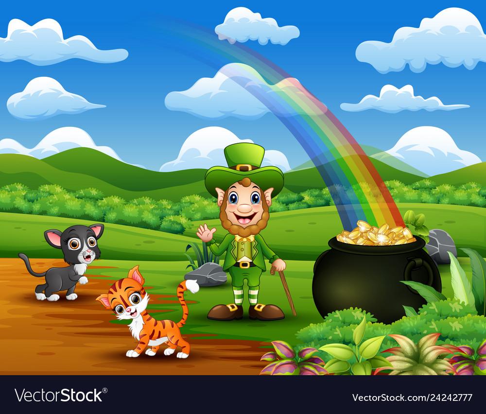 Cartoon st patrick day leprechauns celebrate with