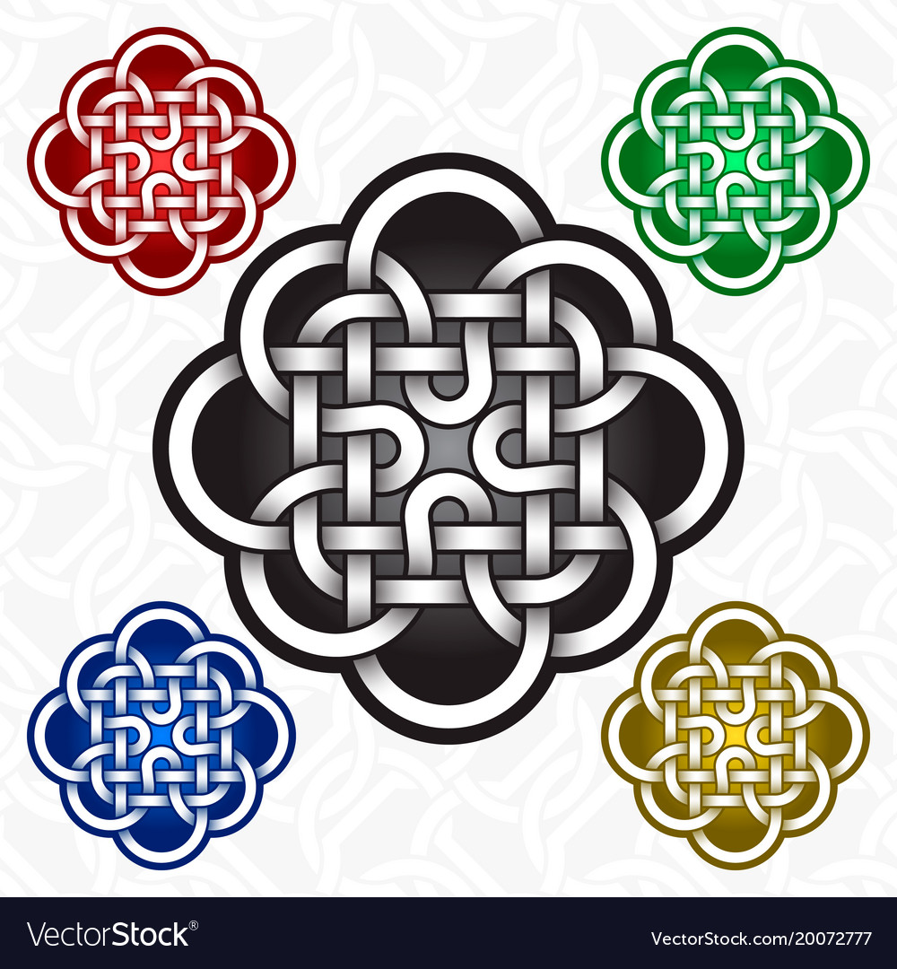 Cruciform Flower Logo Template In Celtic Knots Vector Image