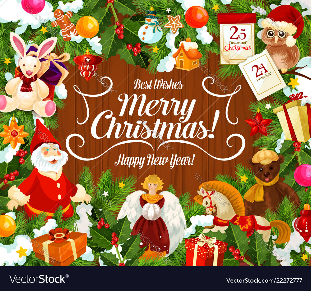 Merry Christmas Wishes.Greeting Card With Merry Christmas Wish And Gifts