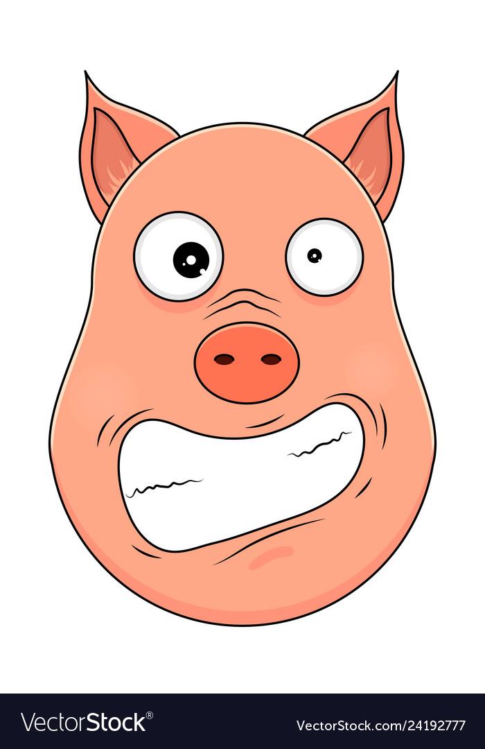 Head of hysterical pig in cartoon style kawaii