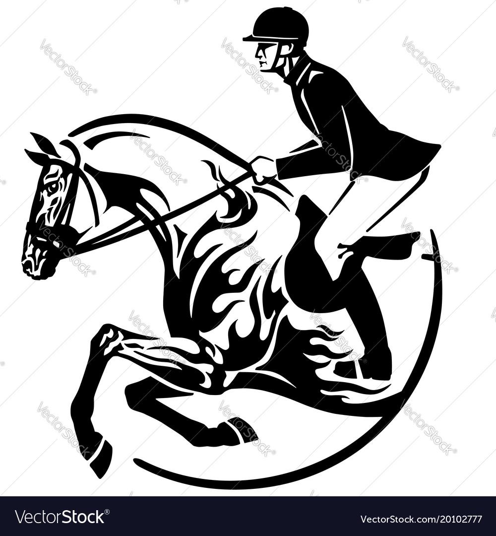 Horse Show Jumping Logo Royalty Free Vector Image