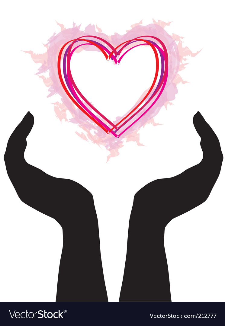 human hands caring heart royalty free vector image rh vectorstock com vector hands shaking vector handshake