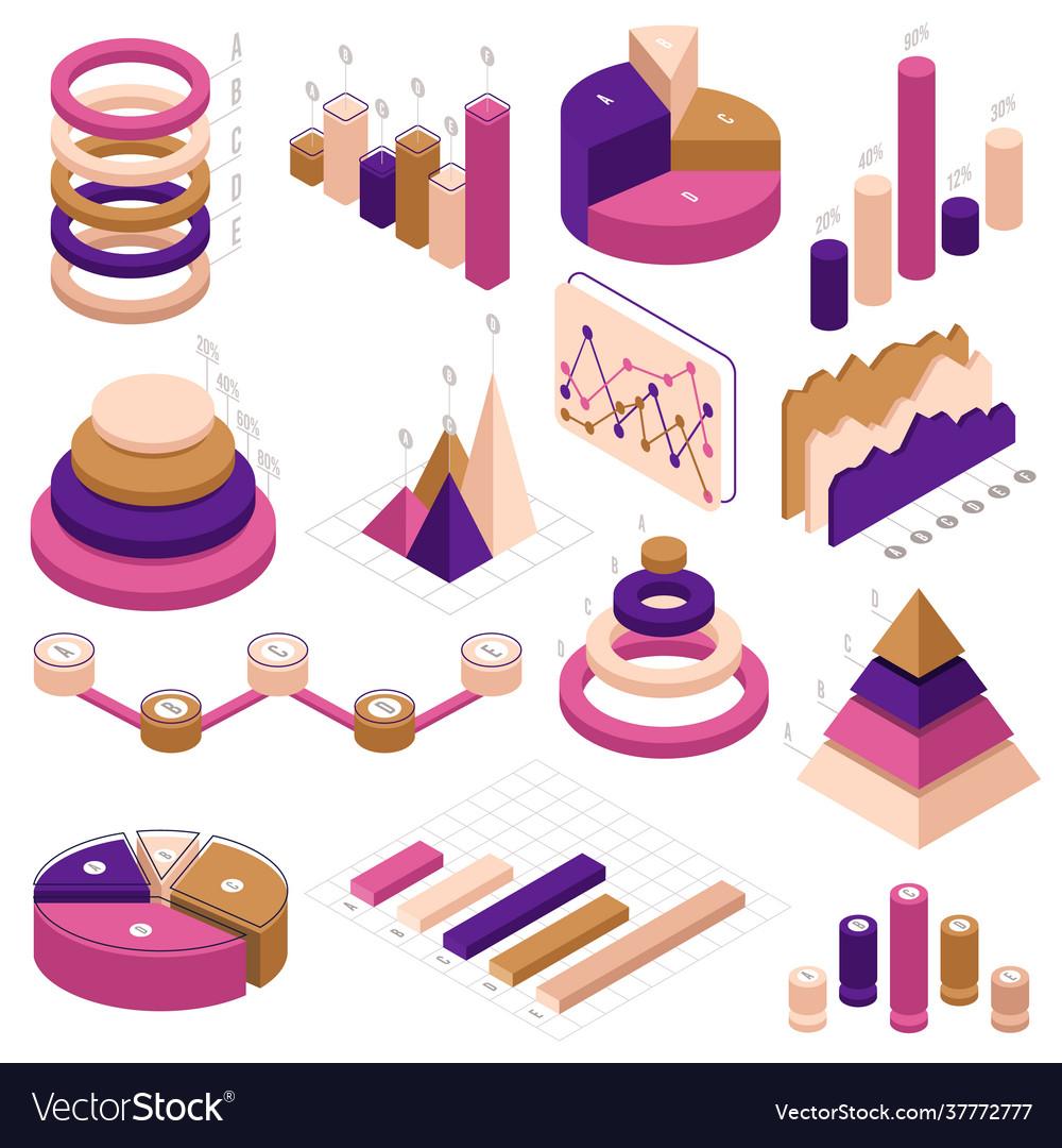 Infographic isometric elements data statistics 3d