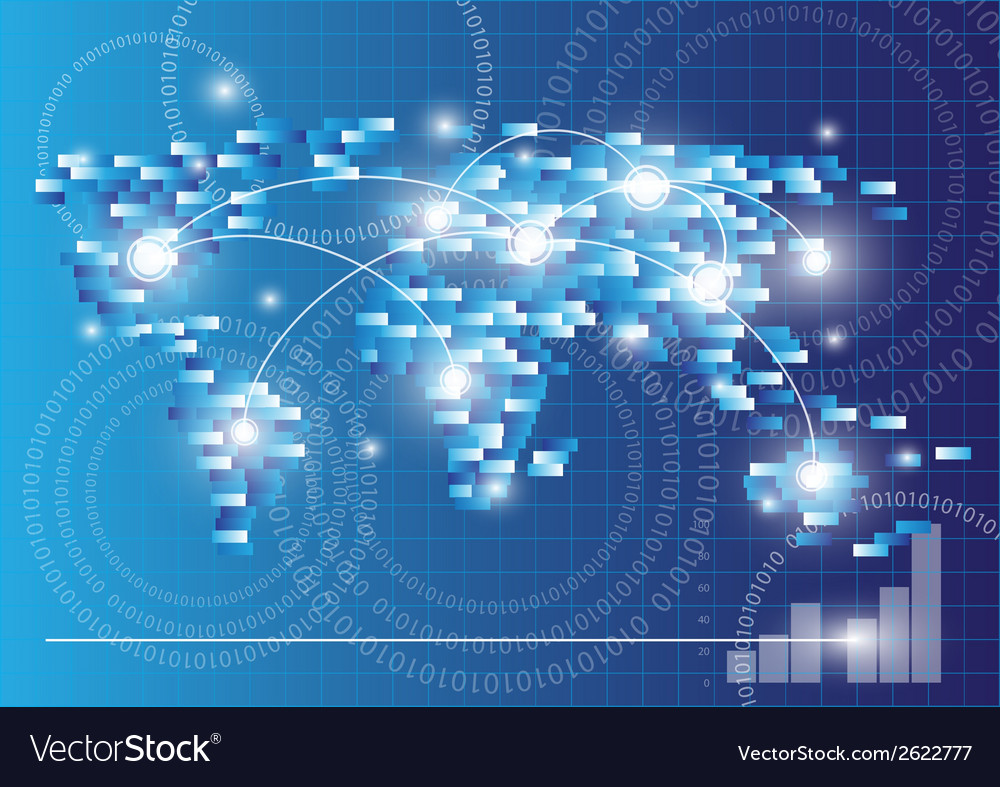 Map and global communication concept vector image