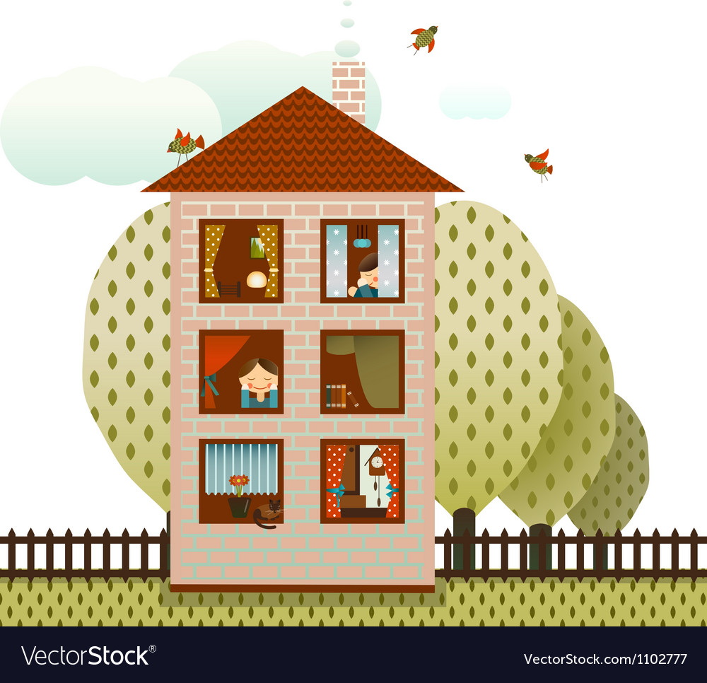 Neighbors in the Village House vector image