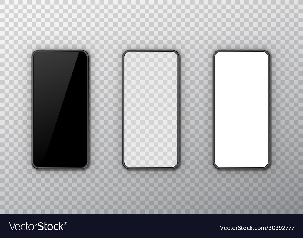 Phone black white and transparent display set