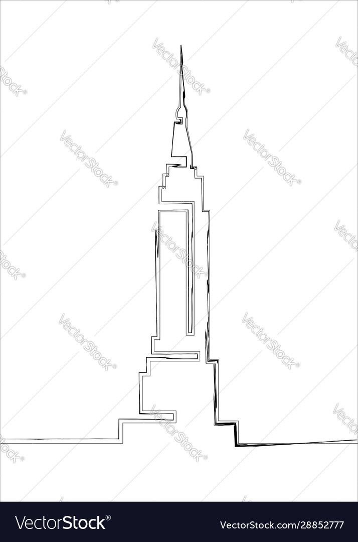 Single line sketch empire state building line art