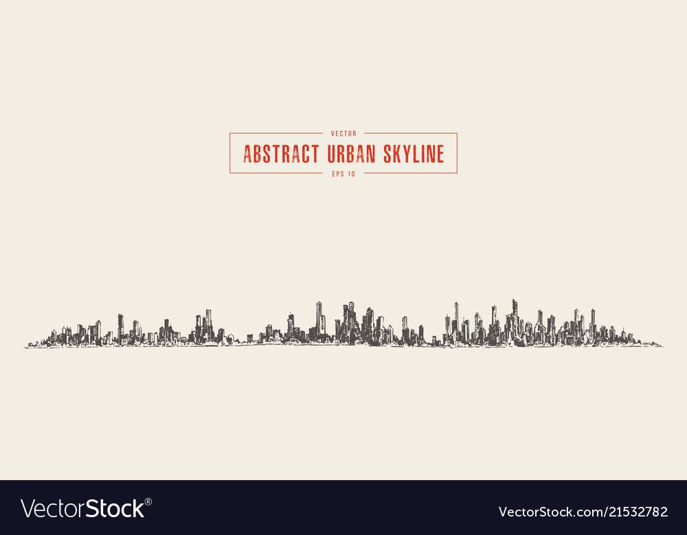 Abstract big city skyline urban linear