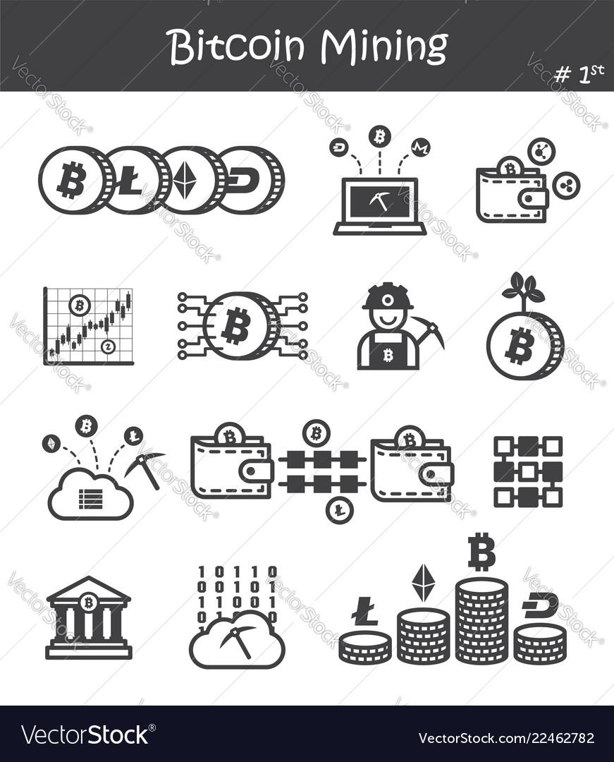 Bitcoin mining icon set 1