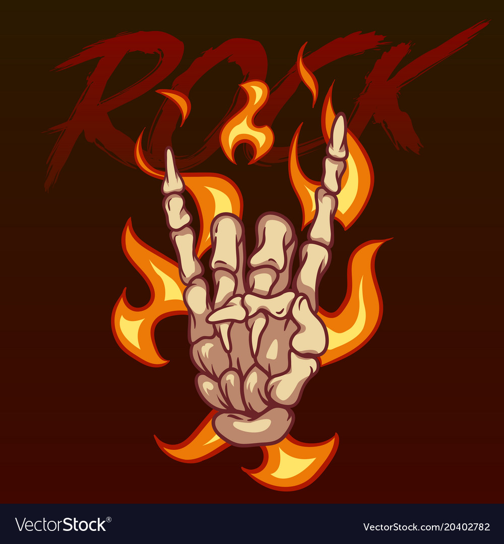 Bony hand and the inscription rock on fire