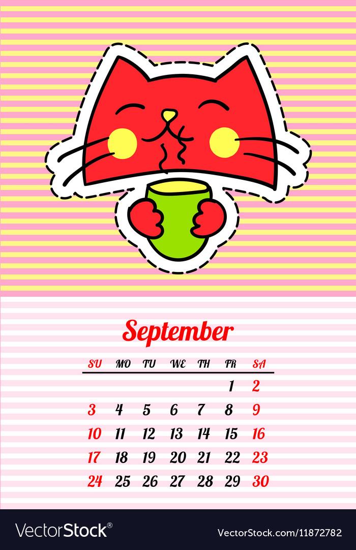Calendar 2017 with cats September In cartoon 80s