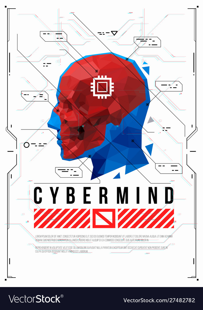 Cyber mind concept poster with low poly head