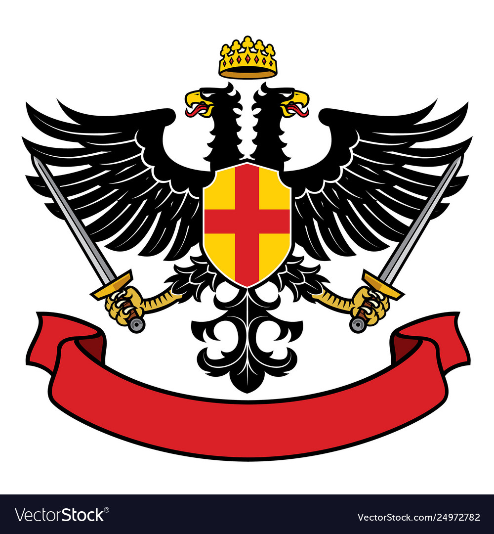 Eagle two headed heraldry with pair swords and