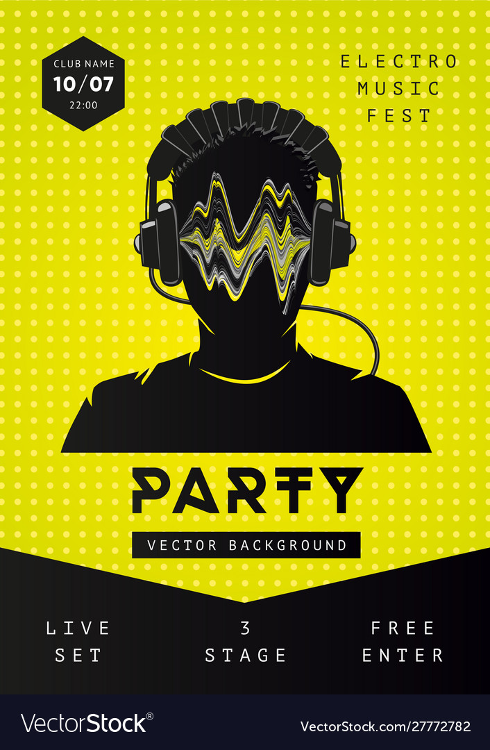 Electro music party poster template dance