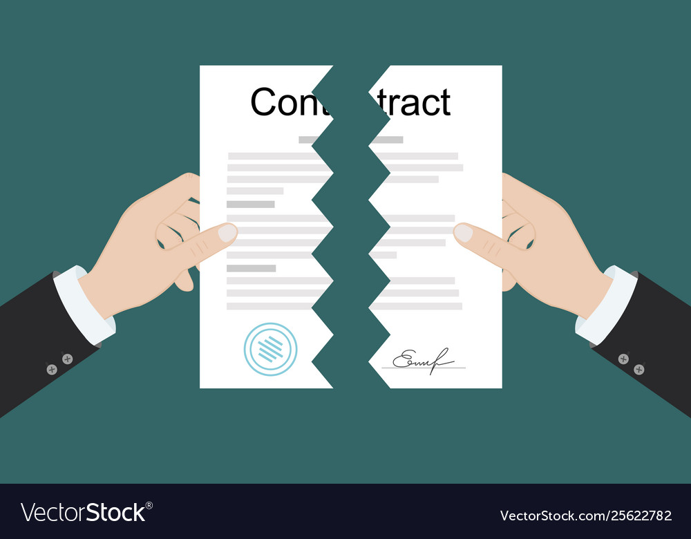 Hands holding two parts torn contract flat