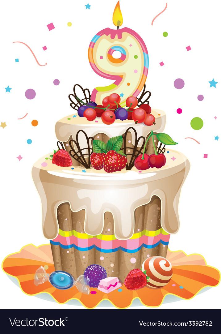 Happy Birthday Cake 9 Vector Image