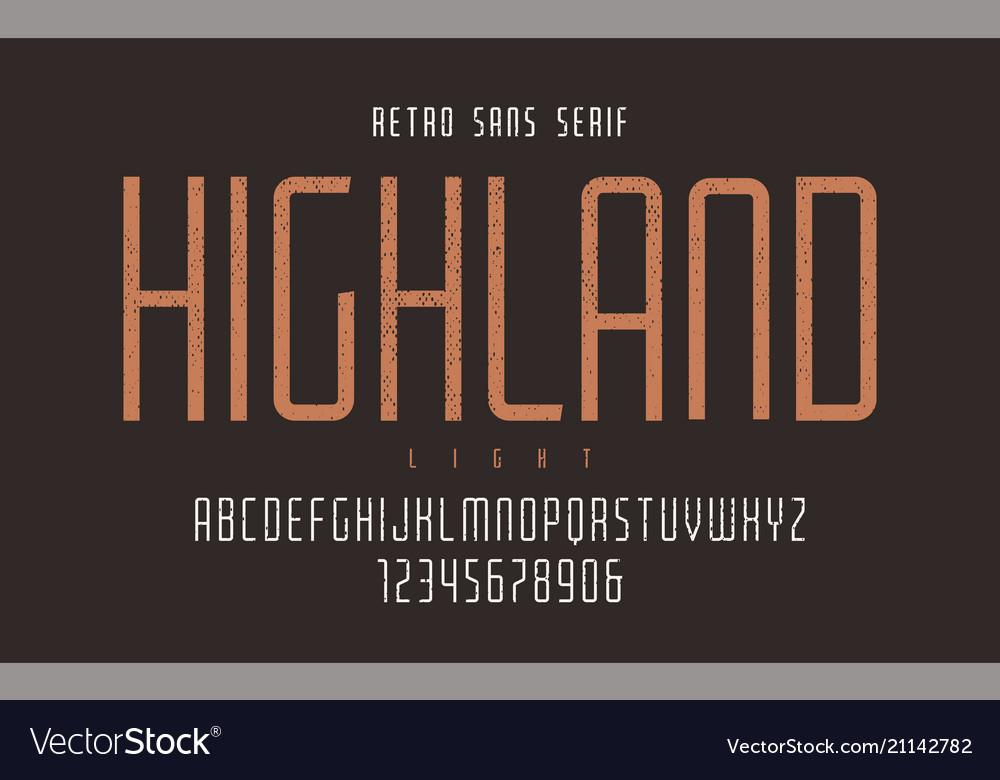 Highland condensed light retro typeface