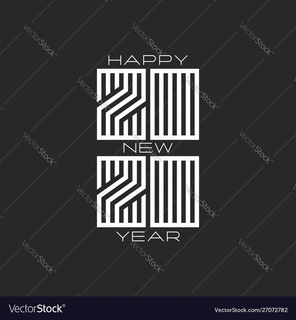 Monogram 2020 logo hipster number and text happy