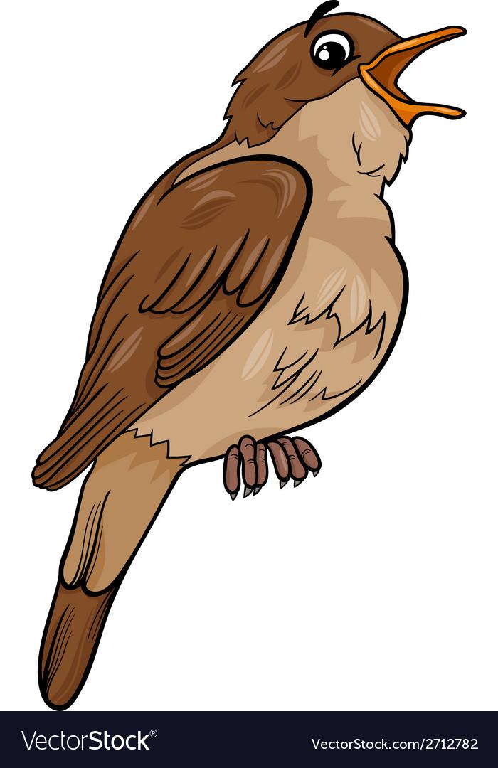 Nightingale Bird Cartoon Royalty Free Vector Image