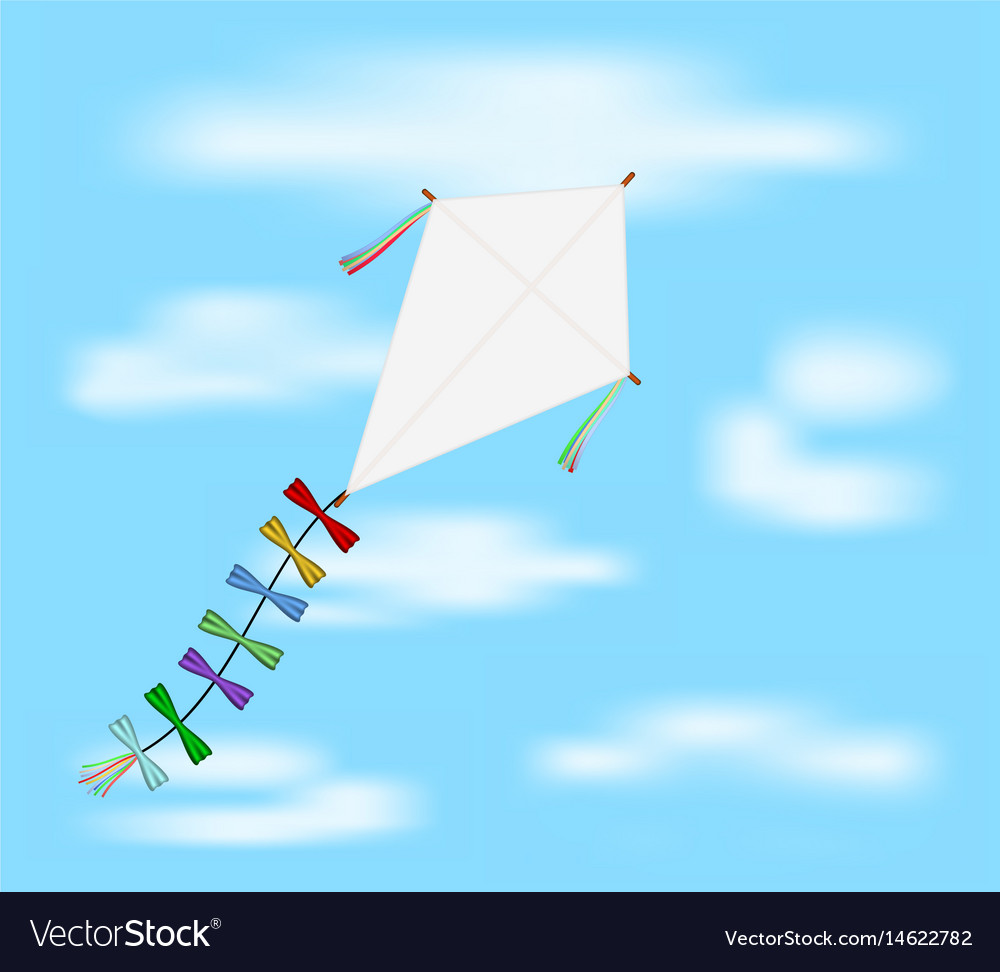Paper kite flying on blue sky