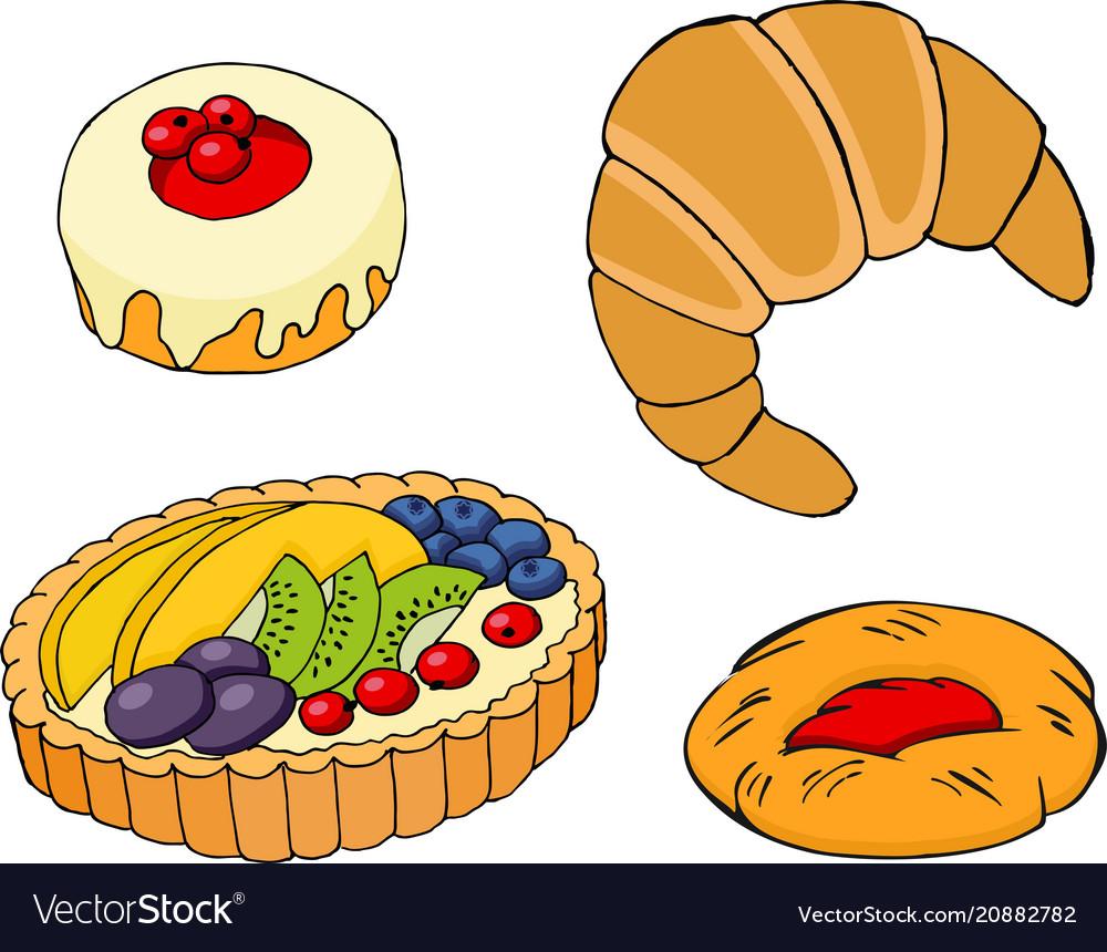 Pastry croissants fruit tart bagel and jam