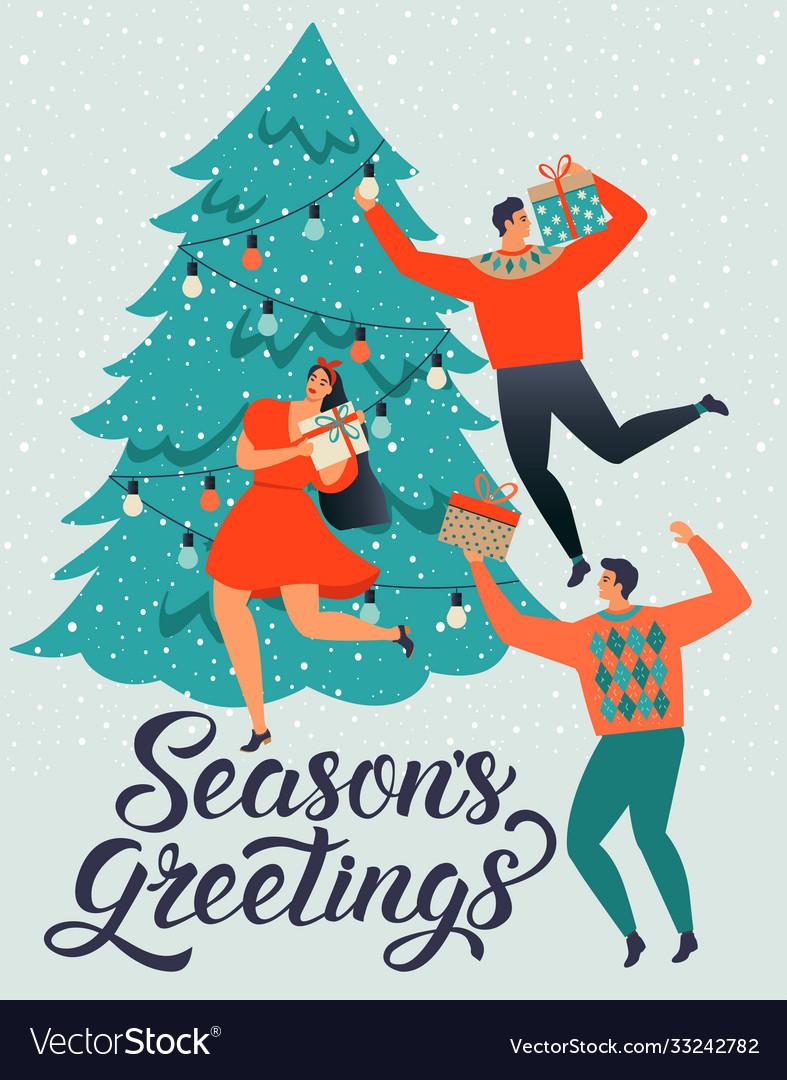 Seasons greetings people young men and women