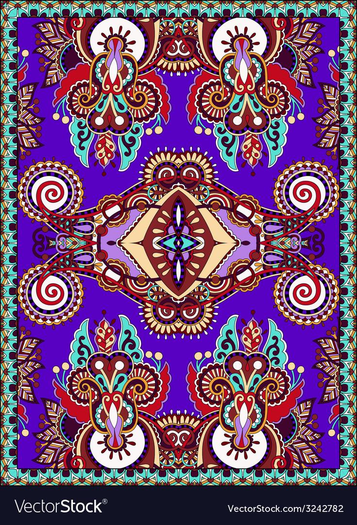 Violet colour ukrainian floral carpet design for vector image