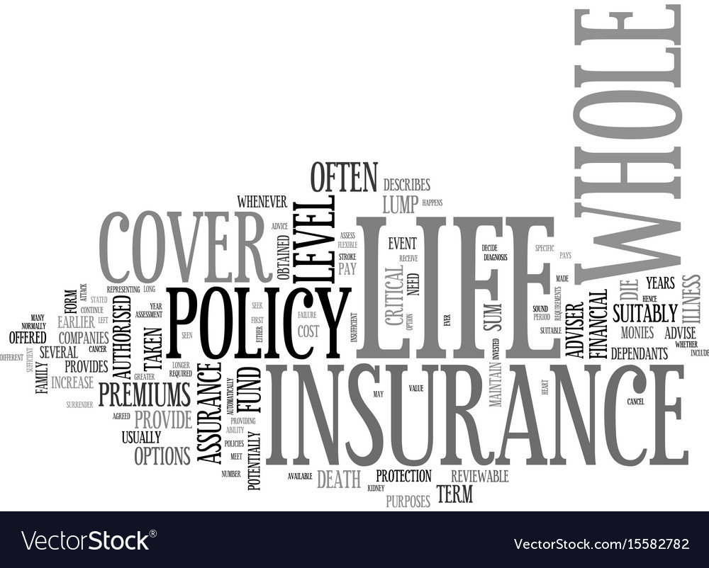 Whole of life insurance text word cloud concept vector image