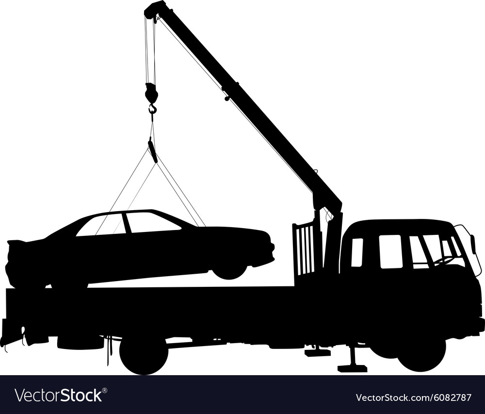 Black silhouette Car towing truck