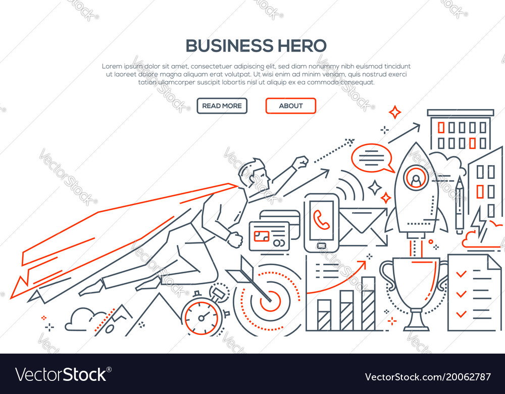 Business hero - modern line design style
