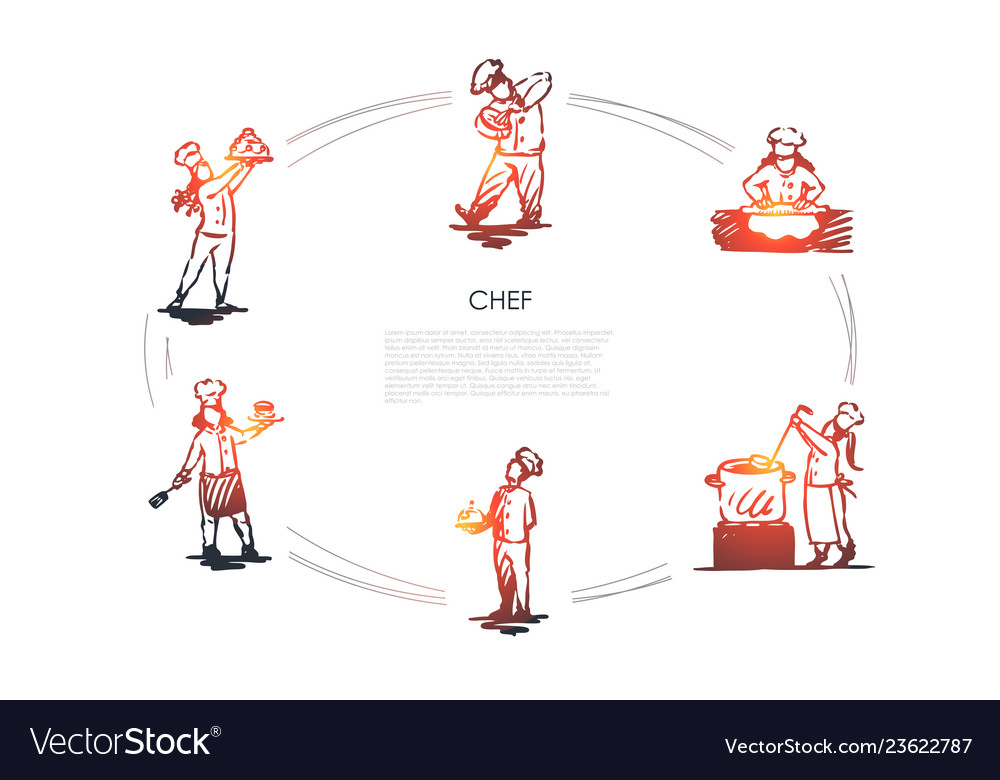 Chef - men and women in special uniform cooking