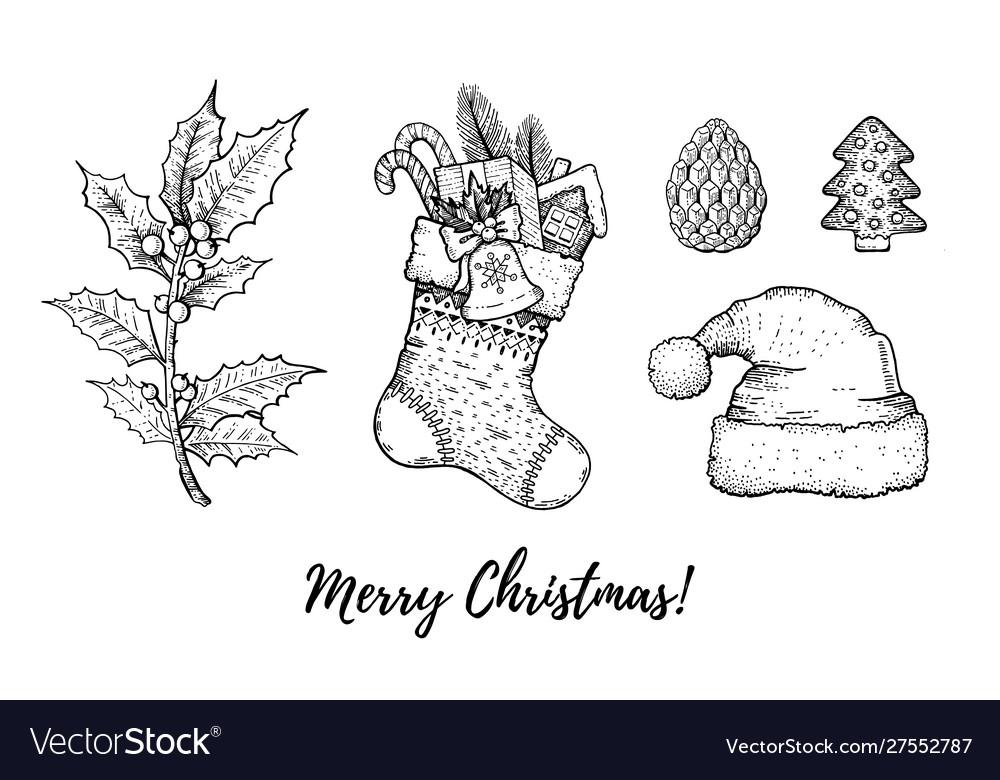 Christmas hand drawn doodle icon set merry xmas