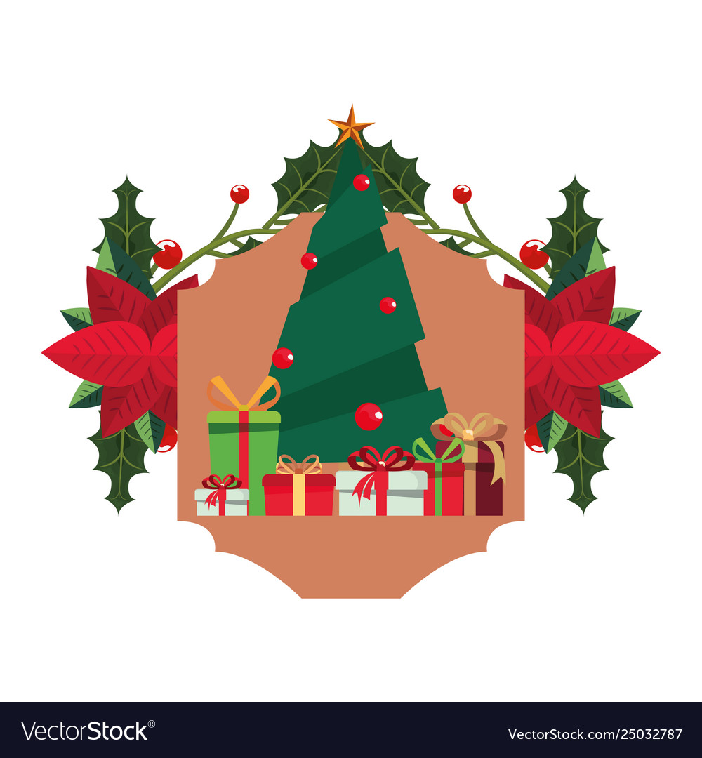 Christmas tree flowers gift boxes vector image