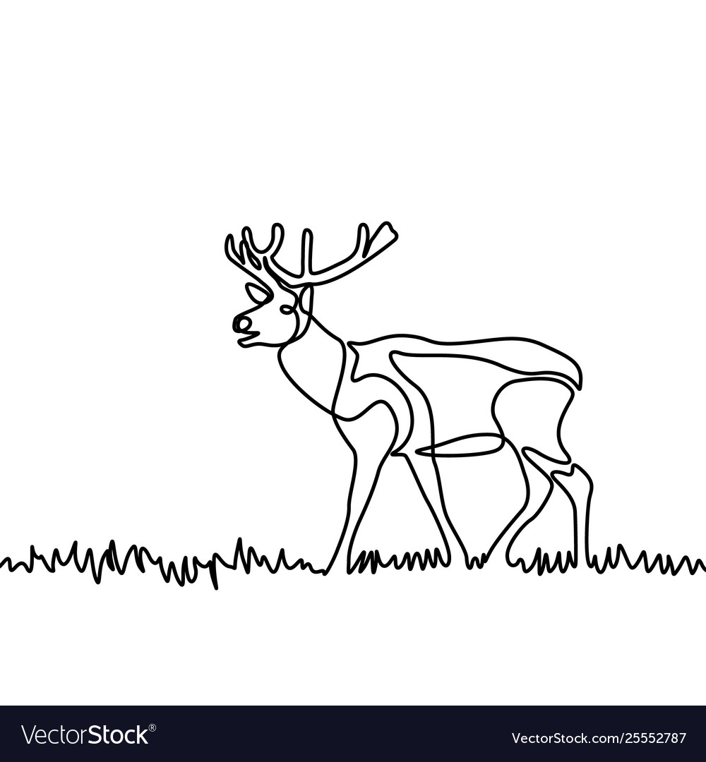 Continuous line elk standing in grass or