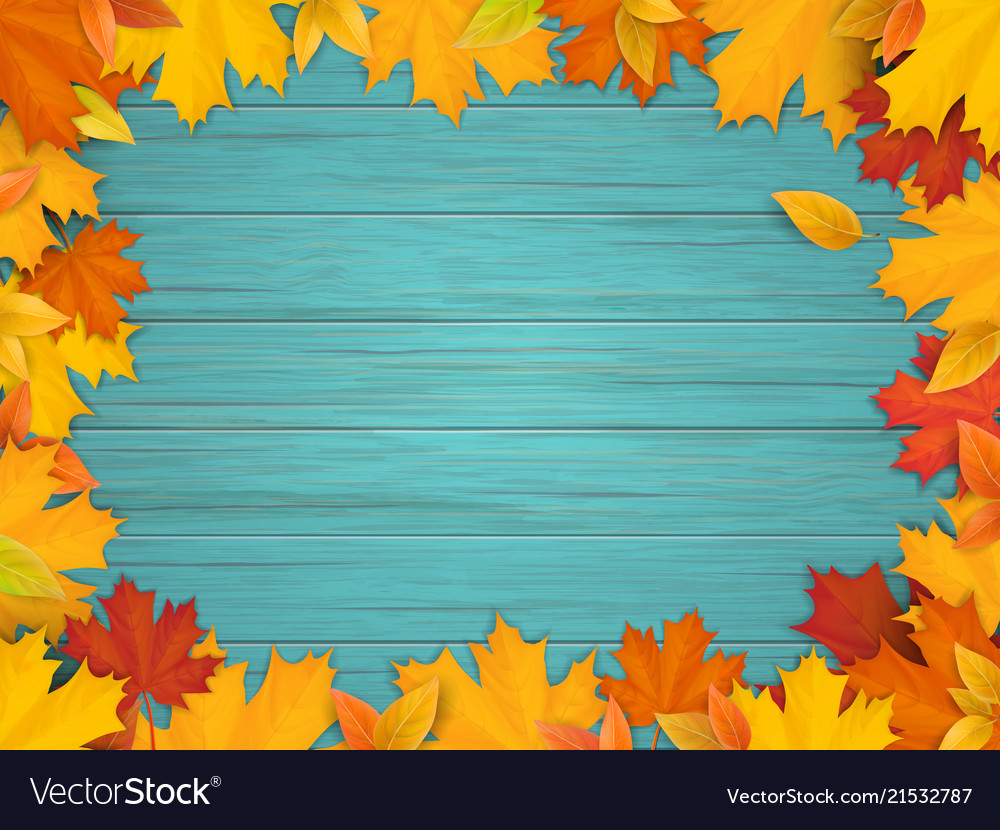 Fallen leaves on turquoise wooden background