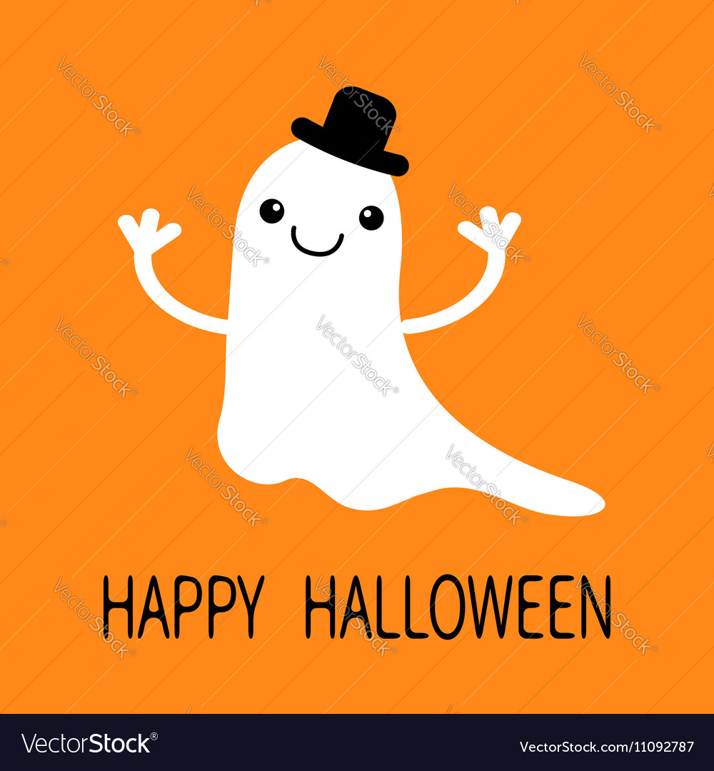 Funny flying baby boy ghost with black hat Smiling vector image