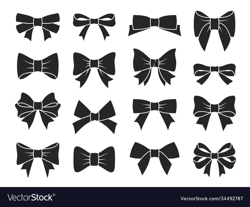 Gift bow icons decorative black bows silhouettes