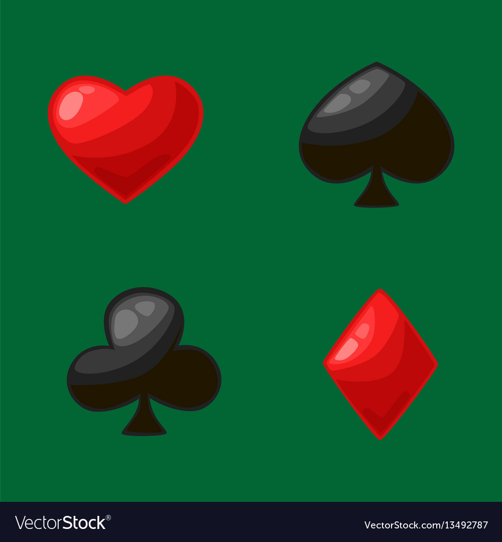 Isolated four card suits for poker game in casino