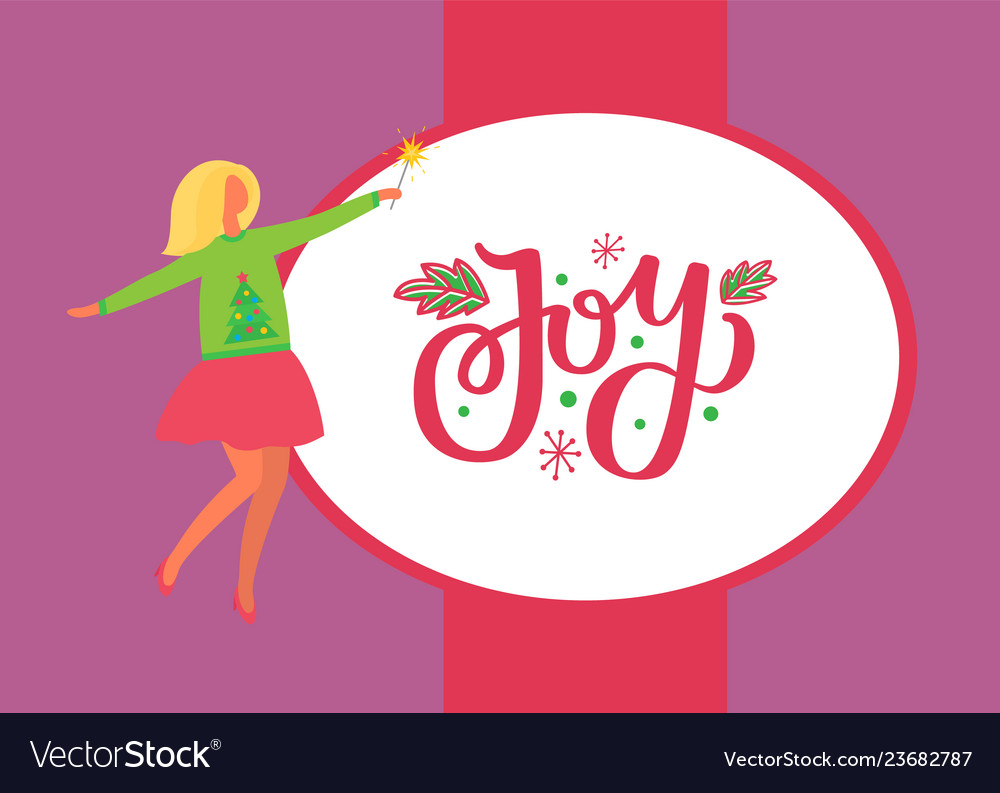 Joy poster woman in skirt and sweater green tree