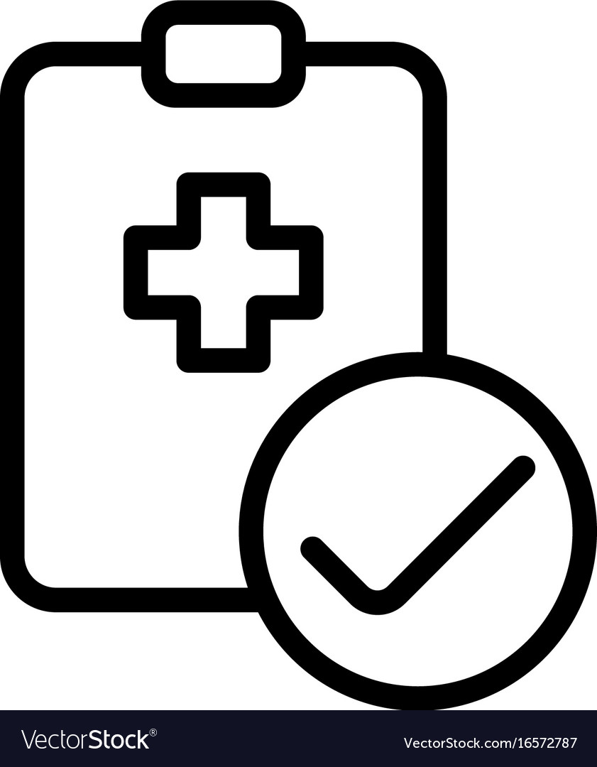 Medical clipboard checklist icon on white vector image