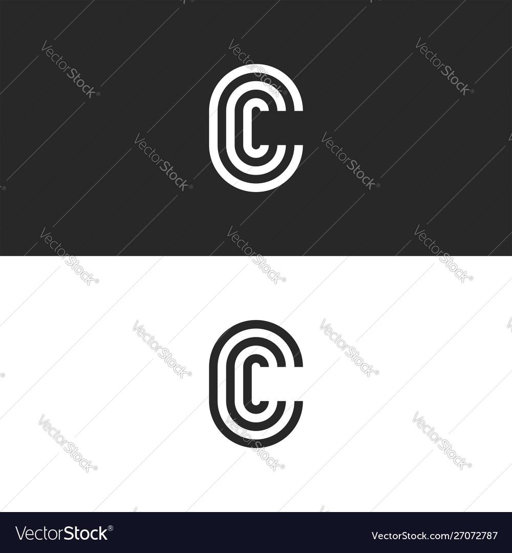 Monogram Letter C Logo Ccc Crest Initials Vector Image