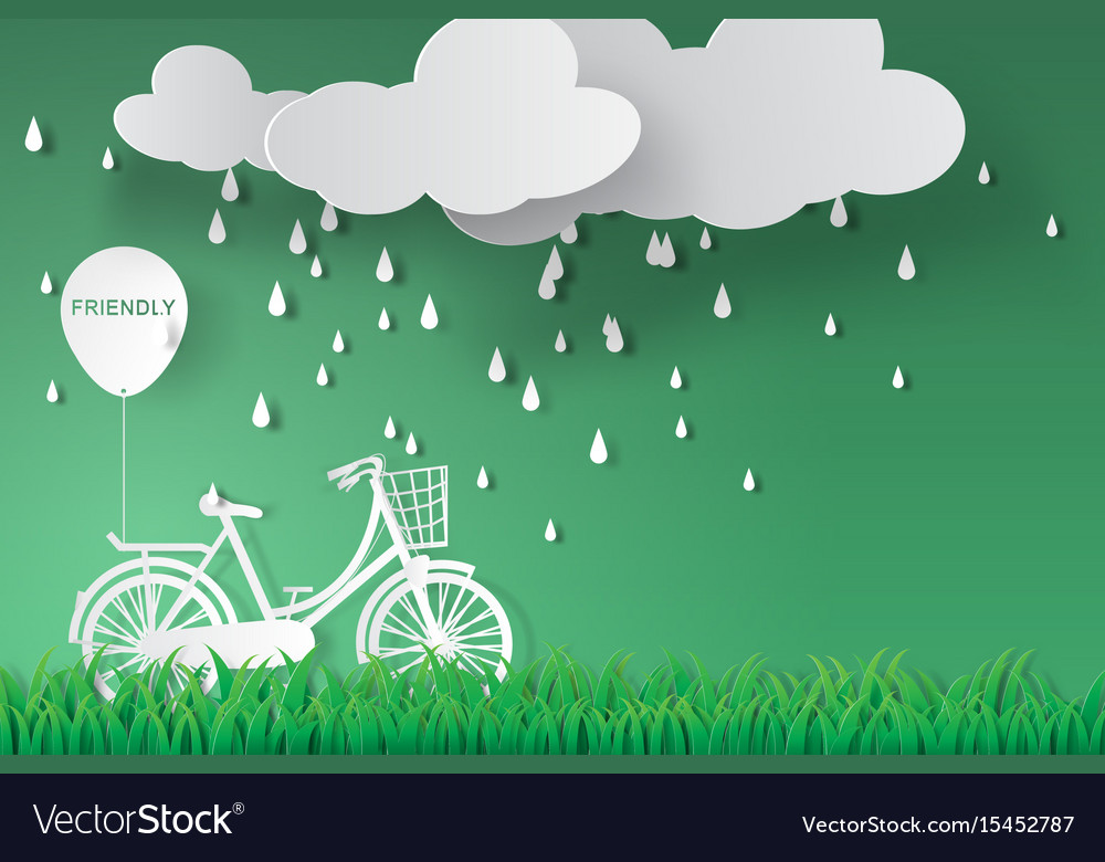 Paper art of bicycle in green garden with rainy vector image